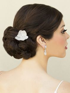Jeweled Orchid Bridal Hair Flower Holly Natural White Or Ivory