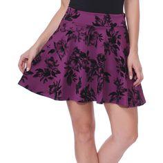 Brooke & Emma Eggplant & Black Floral Skater Skirt ($13) ❤ liked on Polyvore featuring skirts, short flared skirt, long skater skirt, floral print skater skirt, skater skirts and floral print skirt