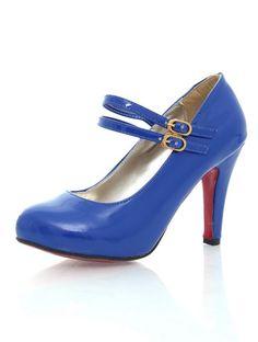 Plus Size Buckle Pure Color Pumps Blue CD11050622.http://www.clothing-dropship.com