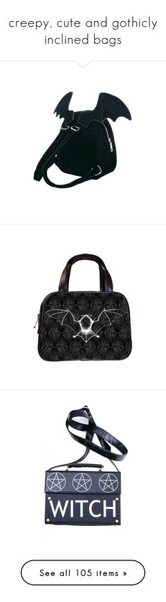 """creepy, cute and gothicly inclined bags"" by hisinfernalzombie ❤ liked on Polyvore featuring bags, backpacks, convertible backpacks, bow backpack, bunny backpack, rucksack bags, animal backpack, home, home decor and wall art"