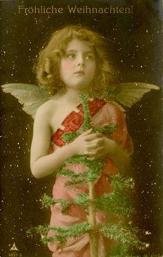 A Christmas Angel - Hand Colored German Real Photo Postcard