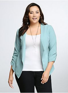 Blaze a trail with this work-ready essential. Lightweight and easy-moving, this sculpted seafoam blue blazer has a drape front that flatters, ruched sleeves that play up your proportions, and an eye-popping color that will make you the envy of all your coworkers.