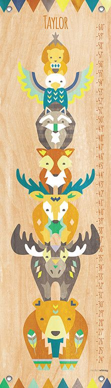 Tiny Totem Personalized by Modern Whimsy Art Growth Chart
