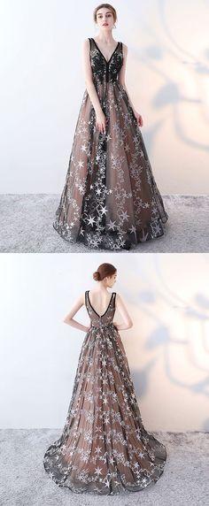 Cute black v neck long prom dress, black evening dress