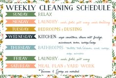 FREE Printable - Weekly Cleaning Schedule - French Press Mornings