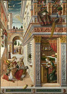 Carlo Crivelli (Venice 1430?–Ascoli Piceno 1495), Annunciation with St. Emidius, 1486, National Gallery, London.