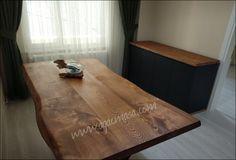 Doğal ağaç yemek masası ve ahşap, lake konsol uygulamamız. Natural chestnut edge wood  dining table and massive wood,laquer console unit.