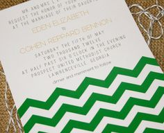 I love chevron! This would make a good graduation invitation using the graduates school colors