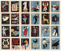 uncut Czechoslovakian matchbox labels