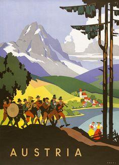 Autriche Vintage Poster (artist: Kosel) Austria c. Old Posters, Retro Poster, A4 Poster, Vintage Travel Posters, Poster Wall, Austria Travel, Germany Travel, Tourism Poster, Kunst Poster