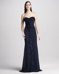 Strapless Ruffle-Front Gown, Navy by Badgley Mischka at Neiman Marcus. Strapless Cocktail Dresses, Pageant Dresses, Strapless Dress Formal, Navy Dress, I Dress, Beautiful Bridesmaid Dresses, Floor Length Gown, Red Carpet Dresses, Badgley Mischka