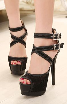 Lace High Heel Sandals