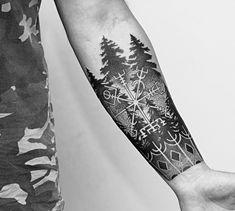 Tattoo Anar Ahmedov - tattoo's photo In the style Graphics, Dotwork, Male, Forest, Run Viking Compass Tattoo, Viking Tattoo Sleeve, Cool Forearm Tattoos, Arm Band Tattoo, Body Art Tattoos, Male Leg Tattoos, Forest Forearm Tattoo, Tatoos, Anchor Tattoos