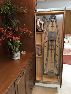 Don't go digging through a closet for your ironing board, iron and accessories ever again! This pull-out ironing center is what you need! It keeps everything for ironing in one place & only needs a cabinet with of interior space. Folding Furniture, Space Saving Furniture, Home Decor Furniture, Wardrobe Design Bedroom, Closet Bedroom, Bedroom Wall Cabinets, Home Interior Design, Interior Modern, Küchen Design