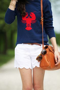 Scalloped Shorts, Lobster Top