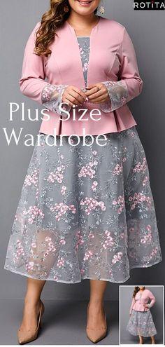 Schößchen Taille Plus Größe rosa Kleid Simple Dresses, Plus Size Dresses, Plus Size Outfits, Plus Size Clothing, Curvy Girl Fashion, Plus Size Fashion, Womens Fashion, Pretty Outfits, Pretty Dresses
