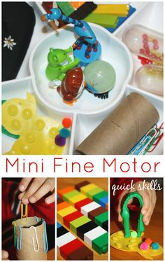 Mini Fine Motor Skills Activity Tray Quick and Easy Activities With Everyday Items! Fine Motor Activities For Kids, Motor Skills Activities, Autism Activities, Gross Motor Skills, Sensory Activities, Preschool Activities, Indoor Activities, Therapy Activities, Sensory Play