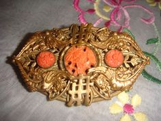 Art Deco Neiger Brothers Chinese theme brooch with coral cabs exquisite unusual