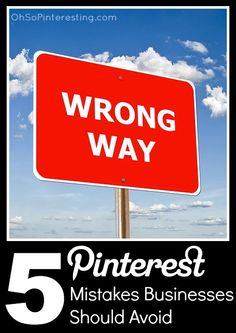 5 Pinterest Mistakes Businesses Should Avoid. A great read for every seasoned Pinterest marketer. I was able to pick up tips and get reminders of how to improve my own marketing. Great post by @Cynthia Sanchez {Oh So Pinteresting}.