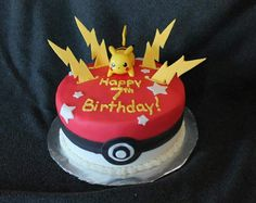 Pokemon cake Pokemon Go Cakes, Pokemon Birthday Cake, Pikachu Cake, Cupcake Birthday Cake, Cupcake Cakes, Cakes To Make, How To Make Cake, Ninja Birthday Parties, Birthday Fun