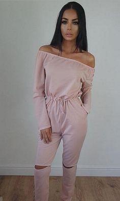 Pink Long Sleeve Off Shoulder Cut-Out Jumpsuit