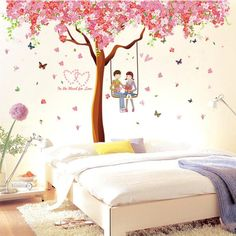 Big Living Room TV/Sofa Background DIY Wall Stickers Tree Flower Fresh Green Leaves