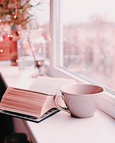 A book, cup of tea and twinkle lights.