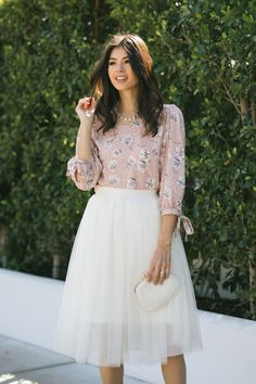 Shop the Shay Floral Dotted Blouse - boutique clothing featuring fresh, feminine and affordable styles. Wedding Guest Style, Floral Blouse, Affordable Fashion, Boutique Clothing, Love Fashion, Lace Skirt, Exercises, Tulle, Feminine
