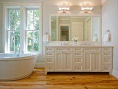 Pine Hardwood Floor - Transitional - bathroom - Melissa Lenox