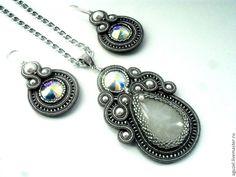 "Купить Комплект ""Лунная соната"" - сутажная вышивка, сутажный комплект, лунный… Soutache Earrings, Shibori, Beading Patterns, Jewlery, Handmade Jewelry, Jewelry Making, Pendant Necklace, Beads, Womens Fashion"