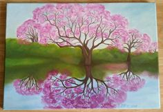 Canvas oil painting, original landscape painting of trees with pink blossoms reflecting on the water.