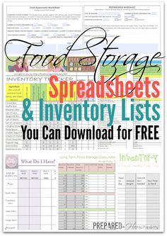 Food storage spreadsheets and inventory lists