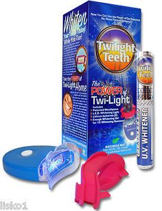 Twilight Teeth at home or while tanning, UV light teeth whitening kit, No-Rinse