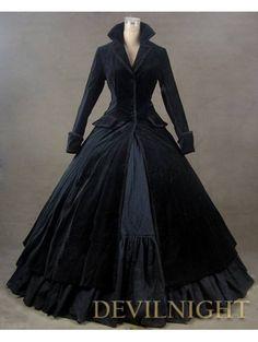 Black Velvet Vintage Winter Outfit Victorian Dress - Devilnight.co.uk