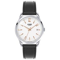 Buy Henry London Unisex Highgate Date Leather Strap Watch, Black/White from our Women's Watches range at John Lewis & Partners. Sport Watches, Watches For Men, Women's Watches, London Watch, Bracelet Cuir, Stitching Leather, Jewelry Stores, Mineral, Stuff To Buy