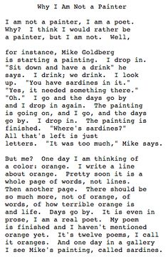 """""""Why I Am Not a Painter,"""" By Frank O'Hara"""