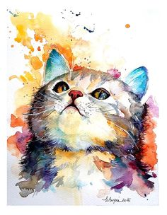 Watercolor Painting by Mishu Bogan – Cat Curiousity – Doodlewash Aquarell von Mishu Bogan – Cat Curiousity – Doodlewash Watercolor Pictures, Watercolor Cat, Watercolor Animals, Watercolor Illustration, Animal Drawings, Art Drawings, Drawing Animals, Dog Art, Painting & Drawing