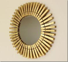 clothespin starburst mirror using supplies from dollar tree via http://inmyownstyle.com/2011/04/a-fun-take-on-a-starburst-mirror.html