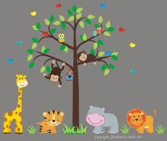 """Baby Nursery Wall Decals Safari Jungle Children's Themed 80"""" X 101"""" (Inches) Animals Trees Wildlife: Repositionable Removable Reusable Wall Art: Better than vinyl wall decals: Superior Material Nursery Wall Decals http://www.amazon.com/dp/B00BGWUQS2/ref=cm_sw_r_pi_dp_GOhQvb10BSD40"""