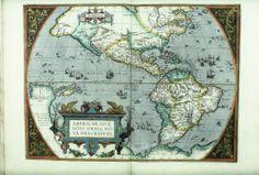 "Abraham Ortelius, ""Americae sive novi orbis, nova descriptio"", 1587. From many Spanish, Portuguese, English, and French sources. Map found in Abraham Ortelius, ""Theatrum Orbis Terrarum"", English edition as The Theatre of the Whole World, London 1606."