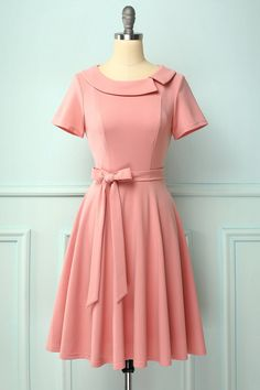 1950s Blush A-line Peter Pans Collar Swing Dress with Pockets & Bow – ZAPAKA Party Dresses With Sleeves, Prom Party Dresses, Cute Dresses, Short Sleeve Dresses, Simple Dresses, Short Sleeves, Lace Burgundy Dress, Mint Dress, Vestidos Vintage