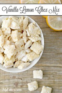 There are so many different versions of Chex Mix, however I must be honest this Vanilla Lemon Chex Mix recipe is one of my ultimate favorit. Puppy Chow Recipes, Snack Mix Recipes, Yummy Snacks, Delicious Desserts, Cooking Recipes, Yummy Food, Snack Mixes, Recipe For Chex Mix, Recipes With Cereal