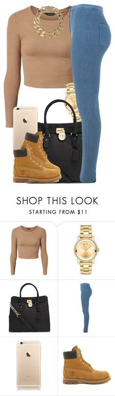 """""""Tan."""" by livelifefreelyy ❤ liked on Polyvore featuring Movado, MICHAEL Michael Kors, Miss Selfridge, Timberland and AllSaints"""