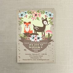 Woodland First Birthday Invite. #fox #woodland #birthday #firstbirthday #deer