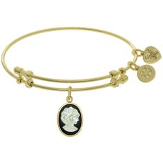 7.25 Adjustable Yellow Brass Cameo Charm Angelica Bangle Bracelet ($39) ❤ liked on Polyvore featuring jewelry, bracelets, cameo jewelry, brass bangles, hinged bracelet, bracelets bangle and charm bracelet bangle