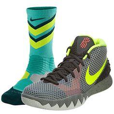 Nike Kyrie 1 Dungeon Deep Pewter Basketball Sneakers with 1 Pair of Hyper Elite Socks www.nbafaniam.com