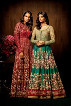 These floor sweeping raw silk ghumerdaar jackets worn over stylish maxis are completely encrusted with thread work, tikkis and pipes with an added shimmer of sequins. In colors like red plum and meadow green, they are perfect attires for sangeet or any other pre-wedding functions. #bridal #trends #bridal2017 #bridalfashion #bridaldress #sangeet #reception #bridesmaids