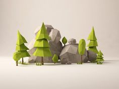 Some little forest bits for a side project I'm working on.   Also, Danny and I have been posting again to Geo a Day! Go peep those fresh renders!