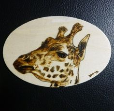 Giraffe Pyrographic Wood Burn Original 3 x 4 inch Oval Art Panel | Pigatopia - Drawing on ArtFire