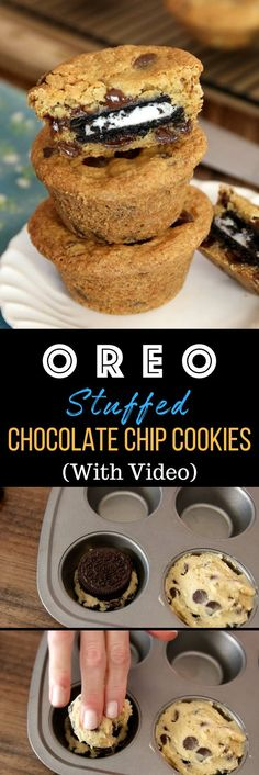 Oreo Stuffed Chocolate Chip Cookies – The BEST soft and chewy big chocolate chip cookies stuffed with Oreos! Quick and easy recipe that's so fun to make! All you need is your favorite chocolate chip cookie dough and Oreos! So simple and so delicious! Brownie Desserts, Easy Desserts, Delicious Desserts, Yummy Food, Desserts With Oreos, Recipes With Oreos, Tasty, Easy Kids Dessert Recipes, Quick Simple Desserts